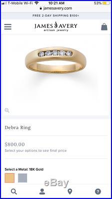 James Avery 18K Yellow Gold Debra. 15 Diamond Ring, Sz 8.5 RETAIL $800 Lot 8375
