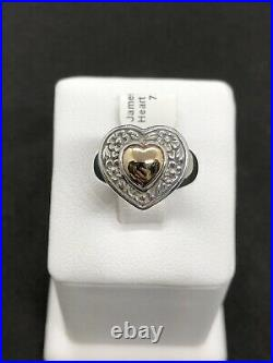 James Avery 925 Sterling Silver & 14k Heart Of Gold Ring Retired