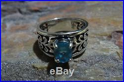 James Avery 925 Sterling Silver Adoree Ring With Blue Topaz Size 7.0