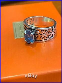 James Avery Adoree Ring With Blue Topaz Stone 925SS RETIRED Gift Box 8
