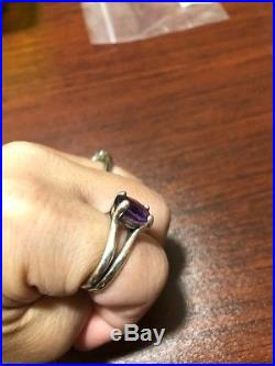 James Avery Amethyst Ring Sz 8 Sterling Silver In Excellent Condition