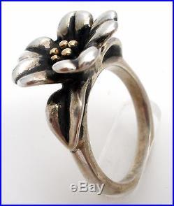 James Avery April Flower Ring Sterling Silver 14K Gold Size 7 925 585 Retired