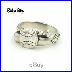 James Avery Baseball Ring Sterling Silver Vintage Retired Wrap a Round Bat