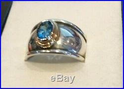 James Avery Christina Blue Topaz Ring Sterling Silver, 18k Gold, Size 8
