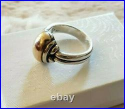 James Avery Dome Ring Sterling 925 Silver 14K Gold Large Heavy Size 9