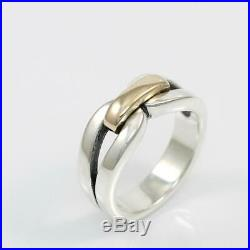 James Avery Enduring Bond Sterling Silver 14K Yellow Gold Band Ring Size 6