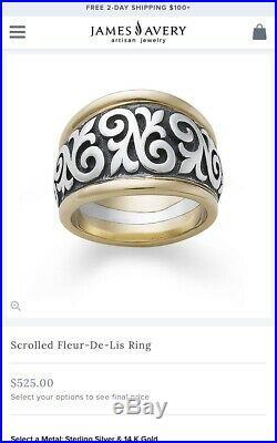 James Avery Fleur De Lis Gold Silver Ring Sz 10