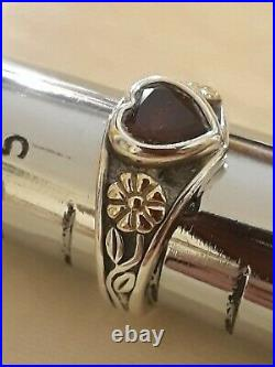 James Avery Garnet Heart Ring, size 6, 14K Gold/Silver