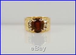 James Avery Hammered 14k Yellow Gold Garnet Diamond Ring Band Customized Earth