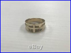 James Avery Hammered 14k Yellow Gold Radiant Cross Ring Size 11 JA27