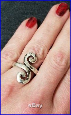James Avery Hammered Bypass Swirl Circle Ring Sz 7 Sterling Silver 925