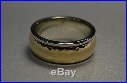 James Avery Hammered Classic 14k Gold & Sterling Silver Band Ring, wt 19.3g