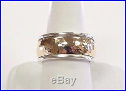James Avery Hammered Classic Band 14K Gold Sterling Silver 3/8 Sz 7.5 10mm Ring