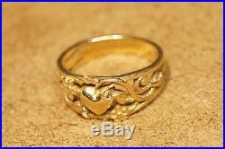 James Avery Heart Flower Vine Ring Yellow Gold RETIRED Size 6