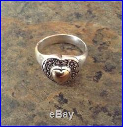 James Avery Heart of Gold Ring 14K Gold & Sterling Silver 8.75 Valentine Special