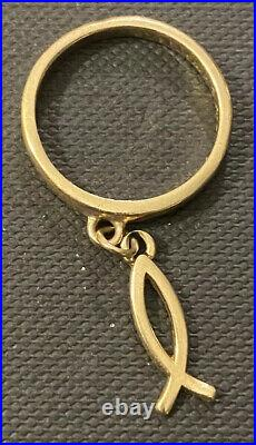James Avery Ichthus Dangle Ring 14k Yellow Gold Size 4