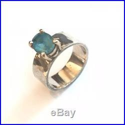 James Avery Julietta 14k Gold Sterling Hammered Silver 925 Ring 5 Blue Topaz