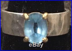 James Avery Julietta 14k Gold Sterling Silver 925 Ring Size 7 Blue Topaz