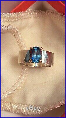 James Avery Julietta 14k Gold Sterling Silver Blue Topaz Ring