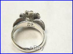 James Avery Large April Flower Ring 18k and Sterling Silver Size 7 1/2