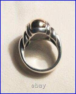 James Avery Large Dome Ring Sterling Silver 925 & 14K Gold Retired Sz 6