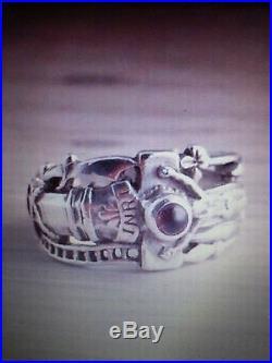 James Avery Martin Luther Cross Ring sz 5.75 925 Sterling Silver Garnet