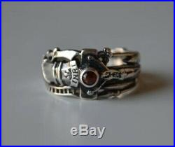 James Avery Martin Luther Crucifix Red Garnet Sterling Silver INRI Band Ring 7.5