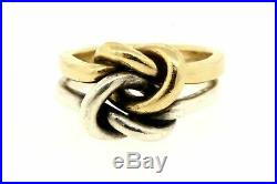 James Avery Original Lovers Knot 14k Yellow Gold Sterling Silver Ring Band 4.5