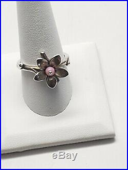 James Avery Pink Bead Blossom Flower Ring. Retired. 925 Preowned Size 10