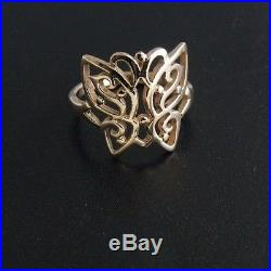 James Avery RETIRED 14K Yellow Gold Lace Butterfly Ring, Size 8 No Reserve