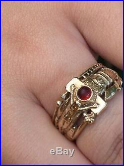 James Avery RETIRED 14K Yellow Gold Martin Luther Garnet Ring Size 10.25