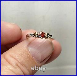 James Avery Rare Retired Sterling 14k Gold Garnet Hearts Ring Size 6.5 NR