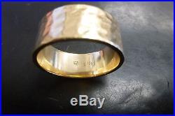 James Avery Reflection Wedding Band 14K Gold Hammered Ring Large Size 10.5