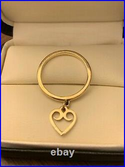 James Avery Retired 14K Gold Ring with Heart Charm sz 8