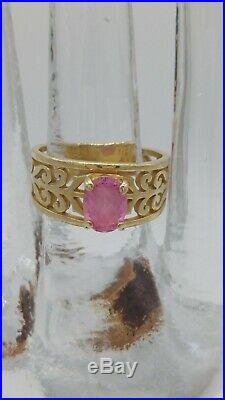 James Avery Retired 14 K Gold Pink Sapphire Ring Size 8