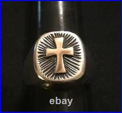 James Avery Retired 14k Gold Cross & Sterling Silver Rays Ring Bold Heavy Size 9