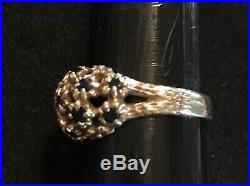 James Avery Retired 14k Gold Eleven Sapphire Daisy Flower Ring Size 7.5-7.75
