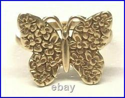 James Avery Retired 14k Gold Margarita Daisy Butterfly Ring, Size 6.75