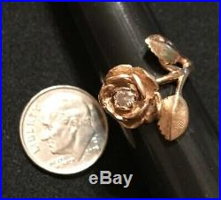 James Avery Retired 14k Gold Rose With. 15 Diamond Ring Size 4