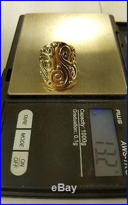 James Avery Retired 14k Solid Yellow Gold Closed Sorrento Ring Sz 7.13+ Grams