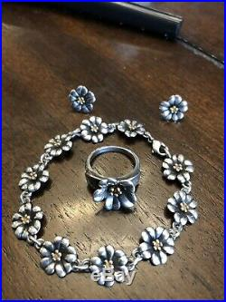 James Avery Retired 18kt Gold and Silver APRIL FLOWER Bracelet Ring Earnings