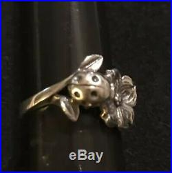 James Avery Retired 3D Ladybug & Dogwood Flower Ring Sterling Silver Size 4.5