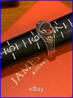 James Avery Retired 926SS & 14k Gold Garnet Heart Ring Sz 6 1/4Gift Bx