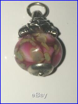 James Avery Retired Art Glass Rose Finial Charm. Mint Condition uncut jump ring