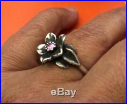 James Avery Retired Christmas Rose Ring In Sterling Silver With Pink Stone