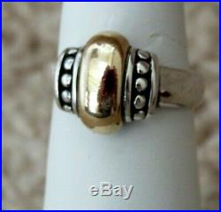 James Avery Retired Dome Thatch Beaded Ring, 14 Kt gold and silver, size 7