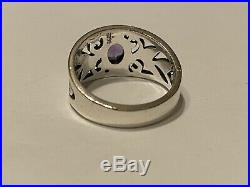 James Avery Retired Oval Amethyst Ring Size 9.75 Pre Owned