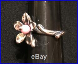 James Avery Retired Pink Bead Blossom Flower Ring Size 6.5