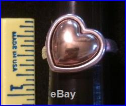 James Avery Retired Rare 14k Gold & Sterling Silver Large Heart Ring Size 7.5