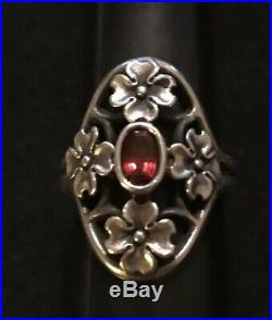 James Avery Retired Rare Dogwood Flower Garnet Ring Size 7.5